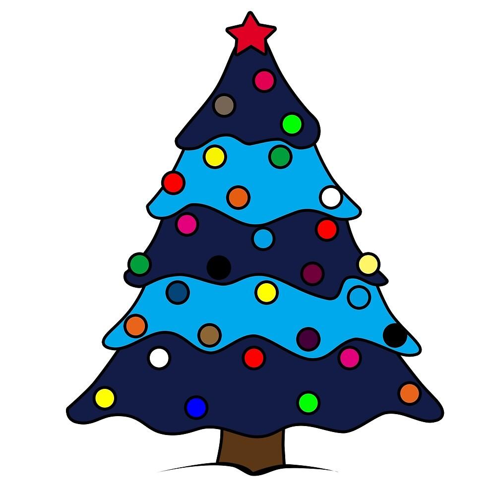 Dibujo De árbol De Navidad Decorado Azul De Glitzzindabiz