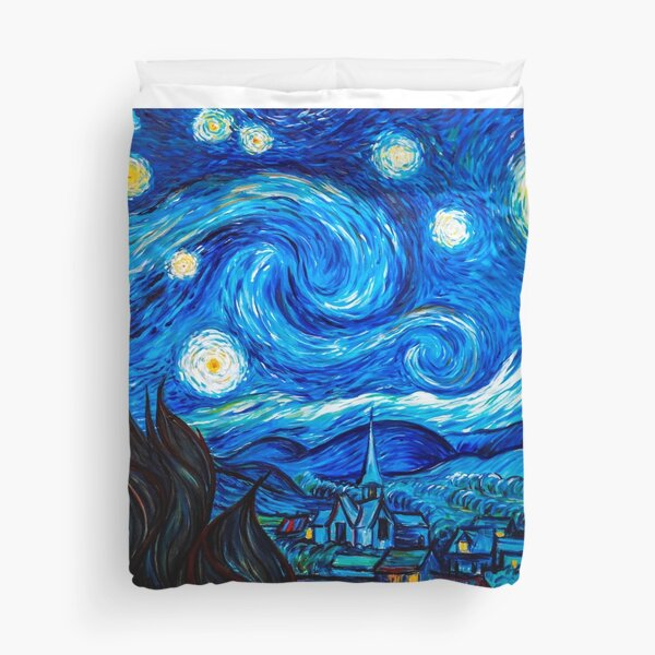 Starry Night Gifts - Vincent Van Gogh Classic Masterpiece Painting Gift Ideas for Art Lovers of Fine Classical Artwork from Artist of Sternennacht Duvet Cover