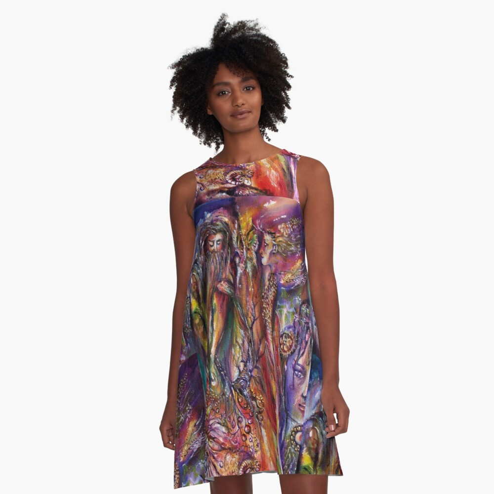 VIVIEN AND MERLIN Pink Purple Blue Fantasy Collection A-Line Dress Front