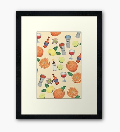cocktail recipe pattern _ zombie Framed Print