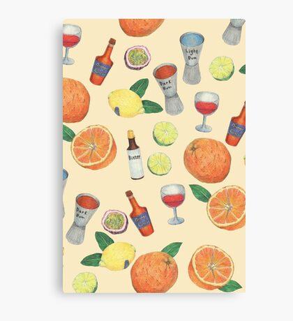 cocktail recipe pattern _ zombie Canvas Print