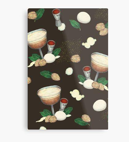cocktail recipe pattern _ brandy flip Metal Print