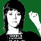 Jane Fonda Mug Shot - Green by Gary Hogben