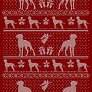 Ugly Christmas sweater dog edition - Doberman Pinscher red by Camilla Mikaela Häggblom