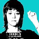 Jane Fonda Mug Shot - Light Blue by Gary Hogben