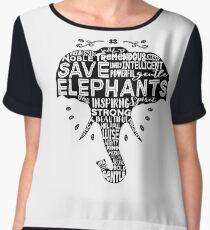 Save Elephants - word cloud (black fill) Chiffon Top