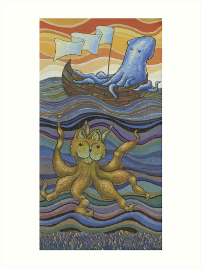 Squid on Boat Spies Catopus in the Sea by Virginia Roper