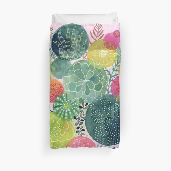 Succulent Circles on Pink Duvet Cover