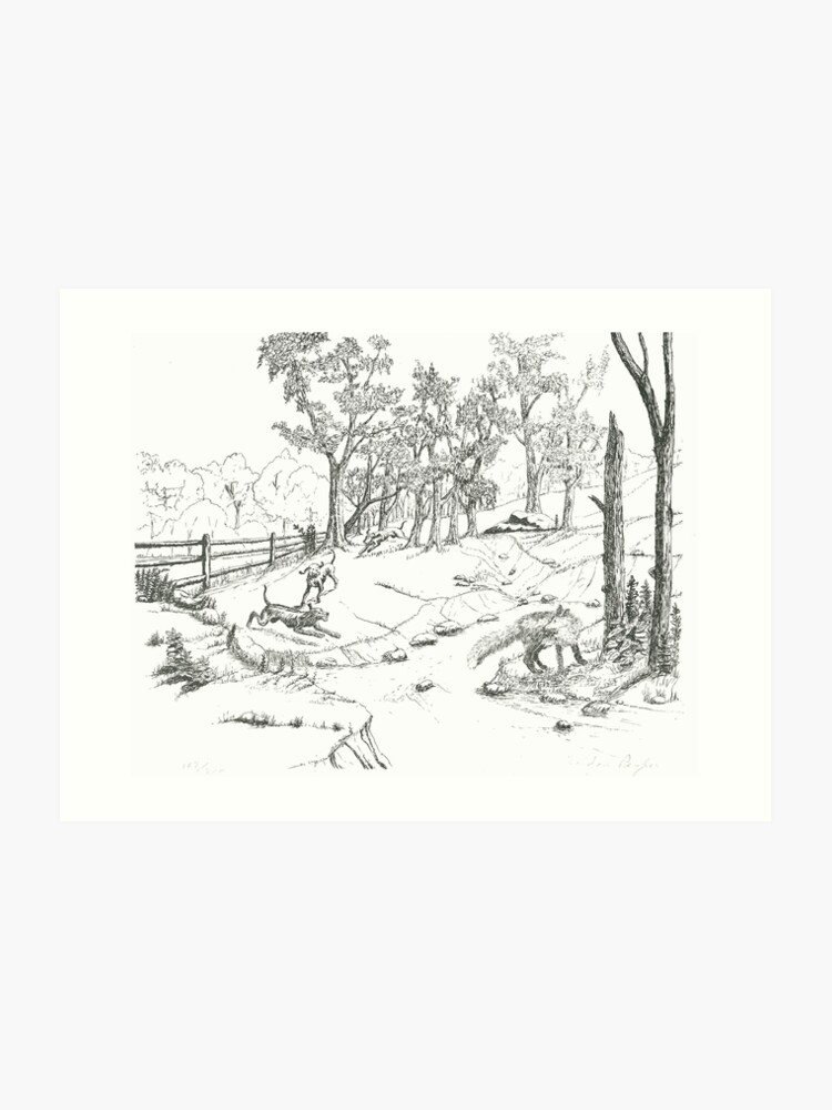 The Fox Hunt -Pen and Ink | Art Print