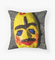 Grotesque Papier Mache Mask Project Throw Pillow
