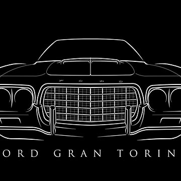 1972 Ford Gran Torino - front stecil, white by mal-photography