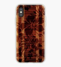 Keokea Beach Faux Wood Hawaiian Surfboard  iPhone Case
