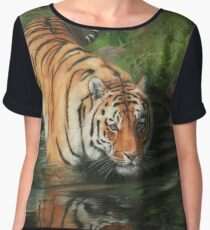 Tiger Entering The River Women's Chiffon Top
