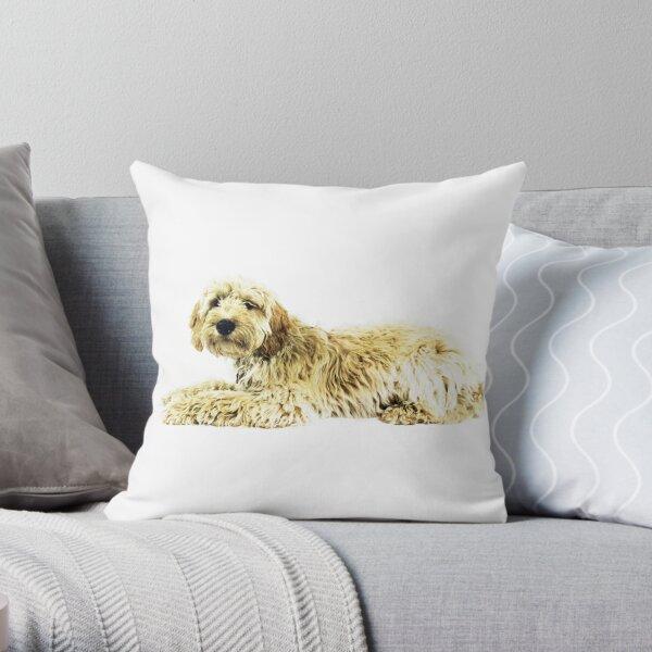 Golden doodle dog Throw Pillow
