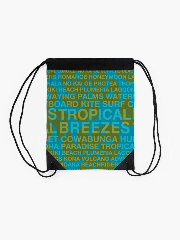 Alternate view of Summer Words Tropical Breezes and Hawaiian Monstera Leaf - Teal & Olive Drawstring Bag