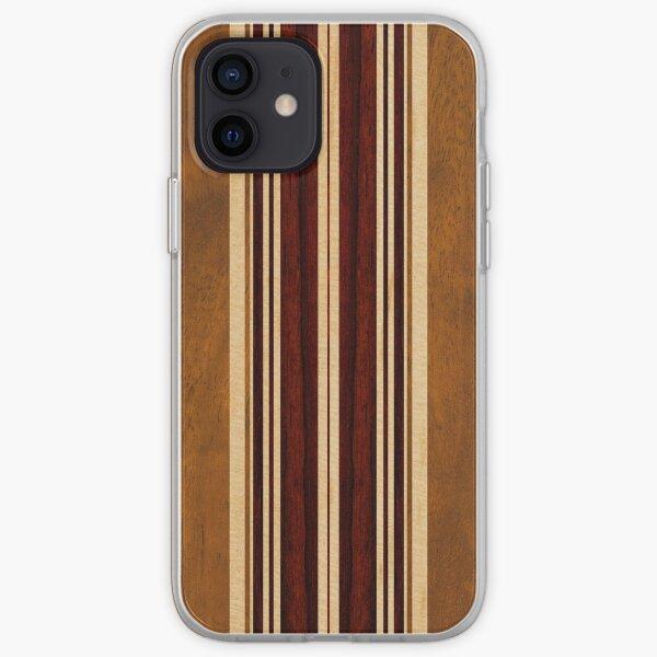 Planche de surf hawaïenne en bois Faux Koa Nalu Lua Coque souple iPhone