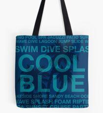 Summer Words Poolside and Hawaiian Palm Tree - Blue Tote Bag