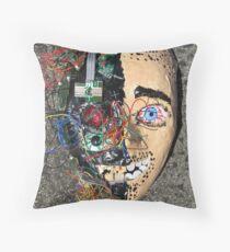 Grotesque Papier Mache Mask Throw Pillow