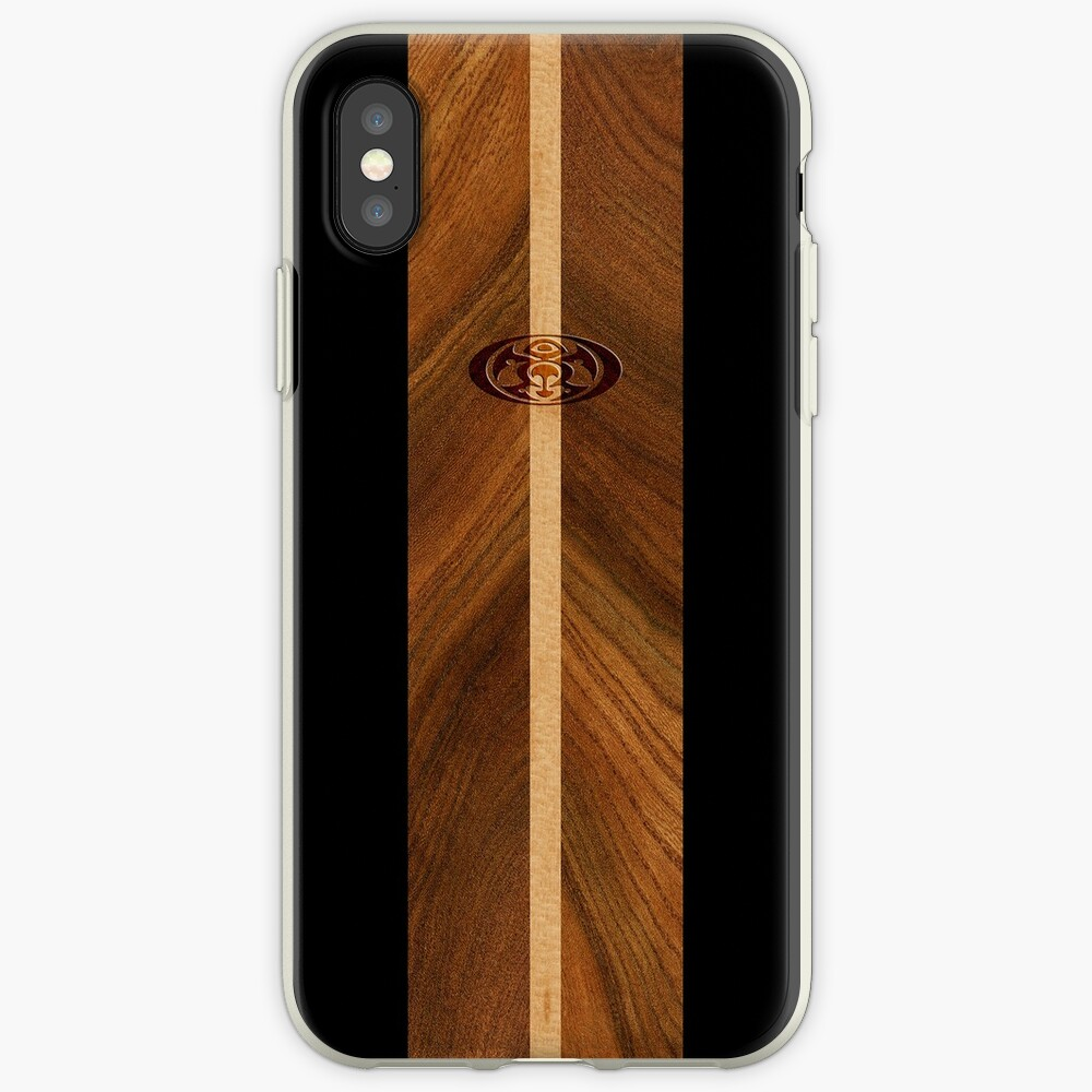 Rocky Point Hawaiian Faux Wood Surfboard - Black iPhone Cases & Covers