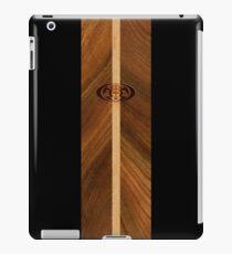 Rocky Point Hawaiian Faux Wood Surfboard - Black iPad Case/Skin
