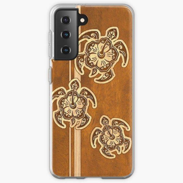 Uhane Honu Faux Wood Hawaiian Turtle Samsung Galaxy Soft Case