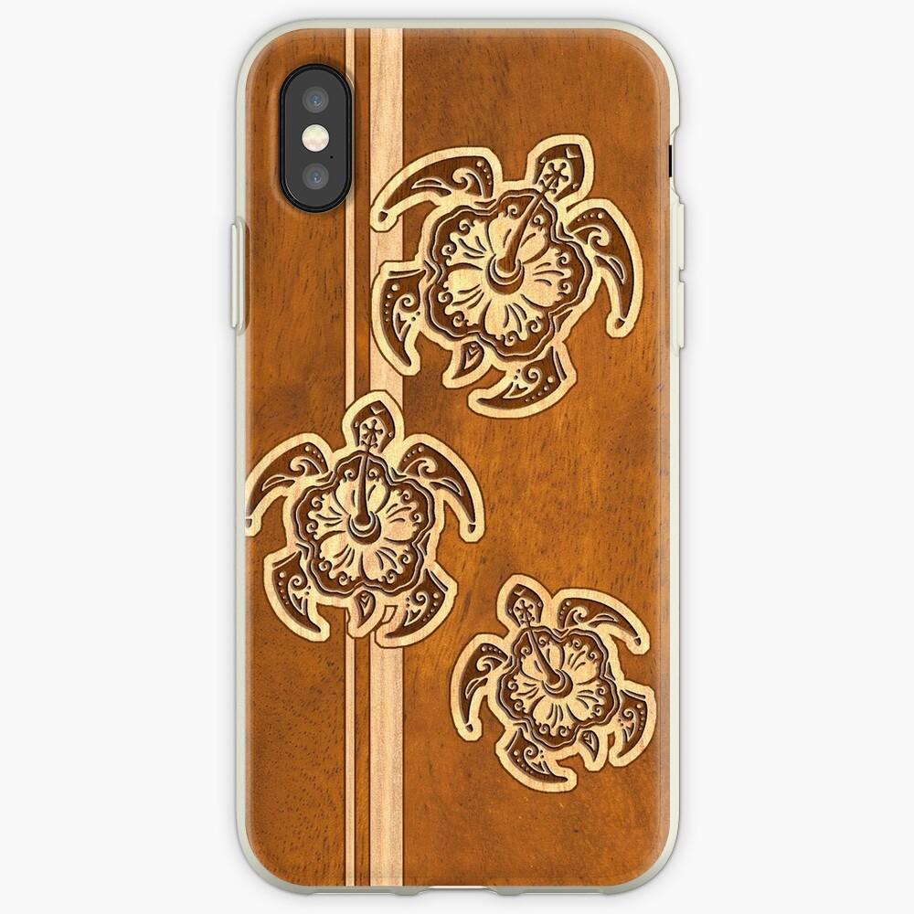 Uhane Honu Faux Wood Hawaiian Turtle iPhone Cases & Covers