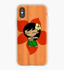 Aloha Honeys Hawaiian Hibiscus Hula Girl - Papaya iPhone Case