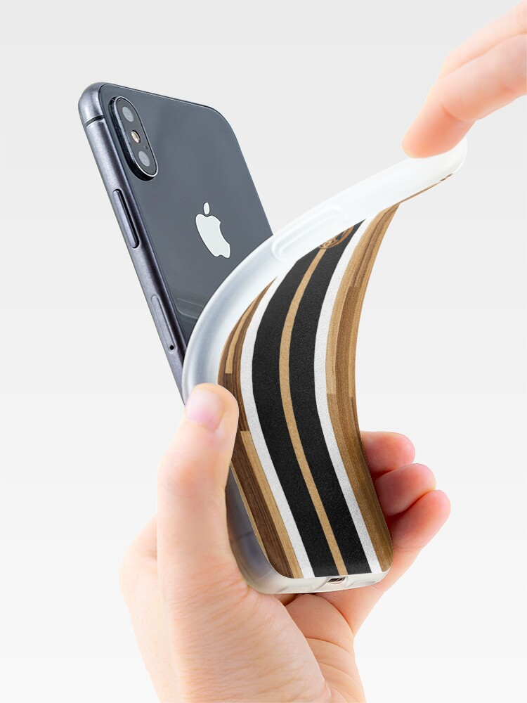 Alternate view of Rocky Point Hawaiian Engineered Faux Wood Surfboard -Black iPhone Cases & Covers