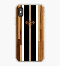 Rocky Point Hawaiian Engineered Faux Wood Surfboard -Black iPhone Case