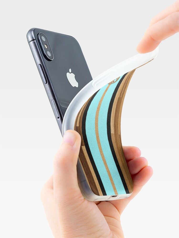 Alternate view of Rocky Point Hawaiian Engineered Faux Wood Surfboard - Aqua iPhone Cases & Covers