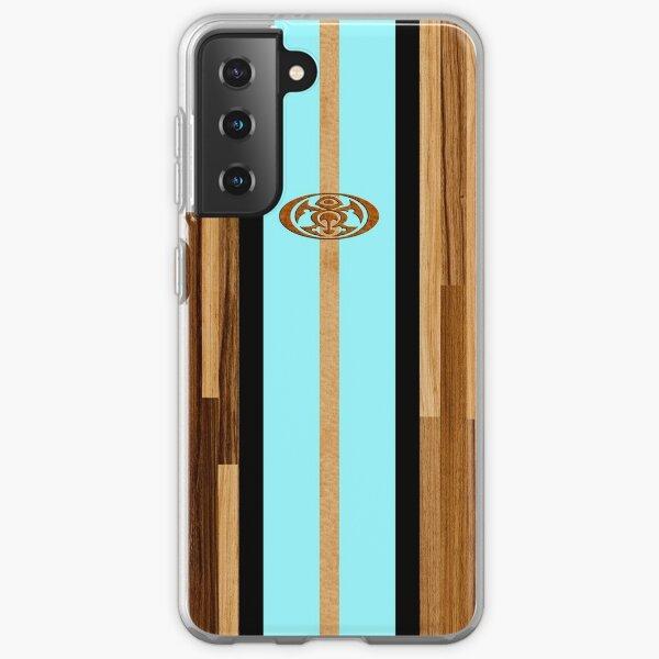 Rocky Point Hawaiian Engineered Faux Wood Surfboard - Aqua Samsung Galaxy Soft Case