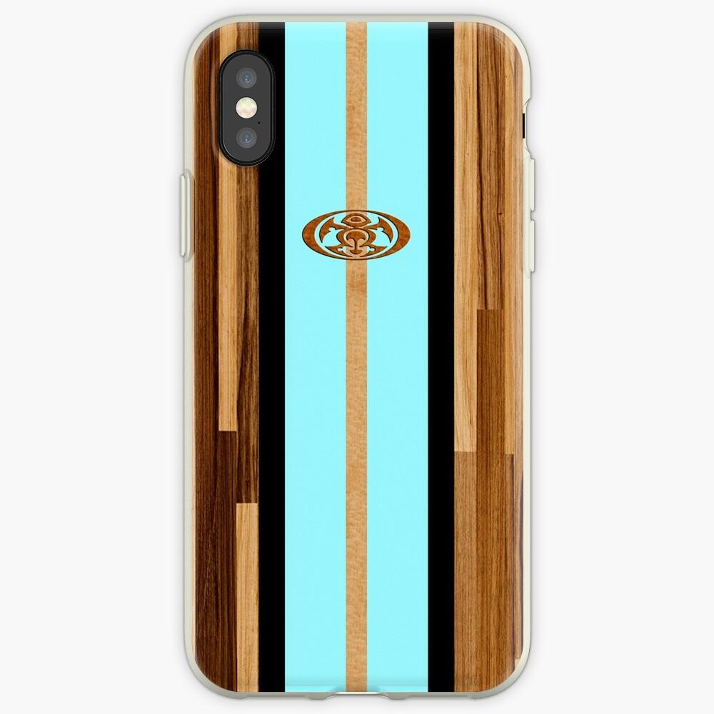 Rocky Point Hawaiian Engineered Faux Wood Surfboard - Aqua iPhone Cases & Covers