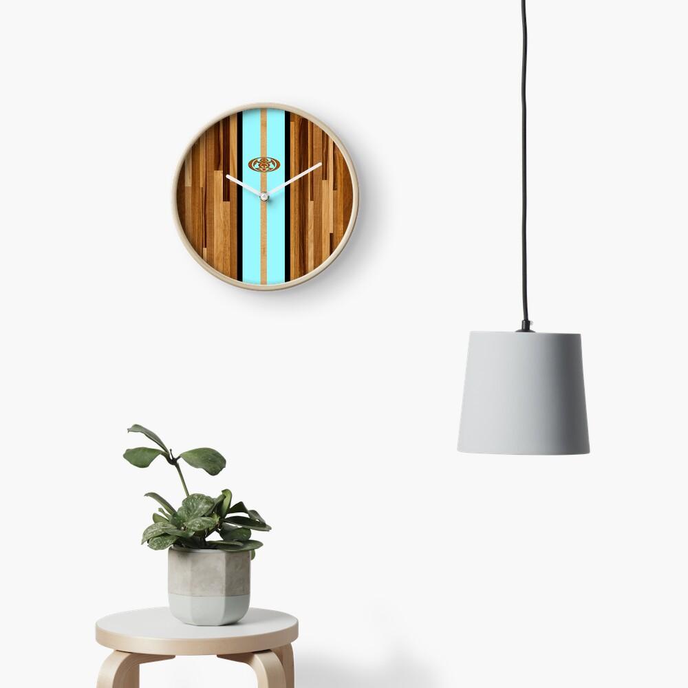 Rocky Point Hawaiian Engineered Faux Wood Surfboard - Aqua Clock