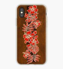 Kalaheo Hawaiian Hibiscus Faux Koa Wood Surfboard - Red iPhone Case