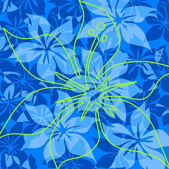 Olowalu Hibiscus Hawaiian Aloha Shirt Print - Blue and Lime by DriveIndustries