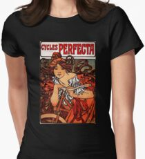 'Cycles Perfecta' by Alphonse Mucha (Reproduction) Womens Fitted T-Shirt