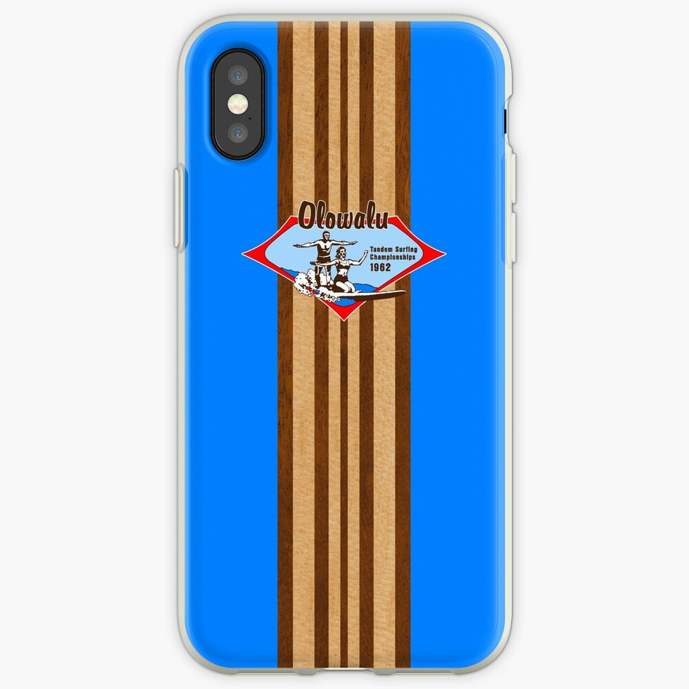 Tandem Surfing Hawaiian Vintage Surf Design  - Ocean Blue iPhone Cases & Covers