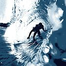 Boarding Trybe Tube, Hawaiian Surf Graphic - Navy Blue by DriveIndustries