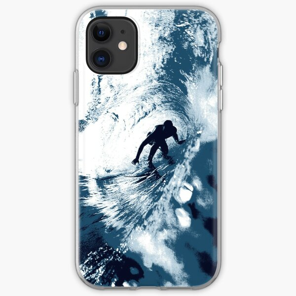 Boarding Trybe Tube, Hawaiian Surf Graphic - Navy Blue iPhone Soft Case