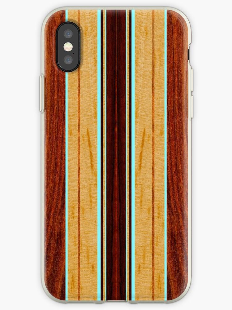 Nalu Hou Faux Koa Wood Hawaiian Surfboard - Aqua by DriveIndustries