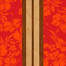 Sunset Beach Hawaiian Faux Koa Wood Surfboard - Red by DriveIndustries