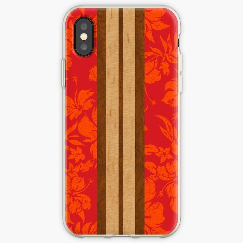 Sunset Beach Hawaiian Faux Koa Wood Surfboard - Red iPhone Cases & Covers