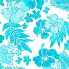 Kona Times Hibiscus Hawaiian Print - Aqua by DriveIndustries