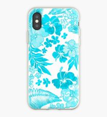 Kona Times Hibiscus Hawaiian Print - Aqua iPhone Case