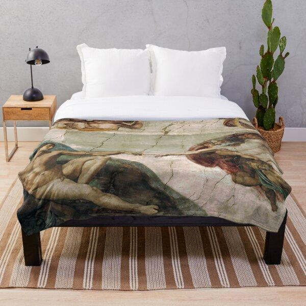 Creation of Adam by Michelangelo Throw Blanket