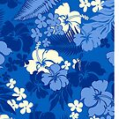 Kona Bay Hawaiian Hibiscus Aloha Shirt Print - Royal Blue by DriveIndustries