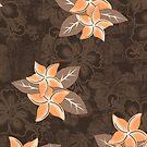Honolua Plumeria Hawaiian Tropical Print - Brown and Papaya by DriveIndustries