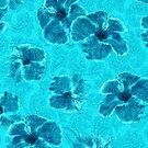 Paisley Hibiscus Vintage Psychedelic Floral - Turq by DriveIndustries