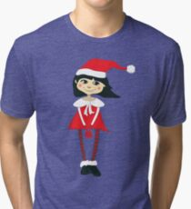 Smiling girl with a Santa hat Tri-blend T-Shirt