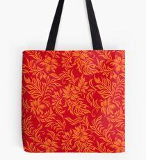 Waikiki Hibiscus Hawaiian Pareau Floral - Red and Orange Tote Bag
